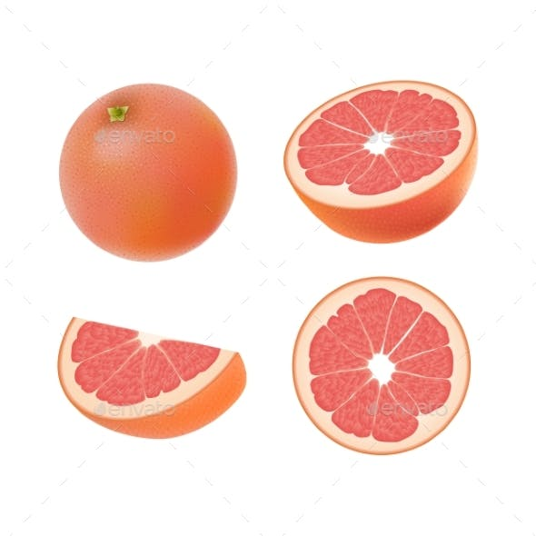 Set of Isolated Colored Pink Grapefruits