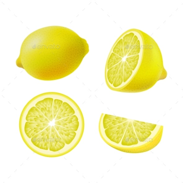 Set of Isolated Colored Lemons - Food Objects