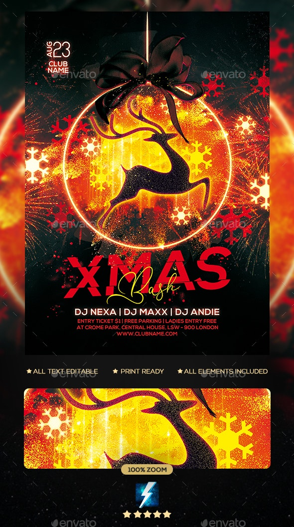 Xmas Bash Party Flyer - Clubs & Parties Events