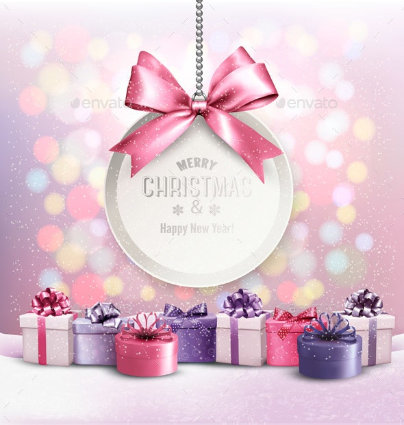 Holiday Christmas Background With a Gift Card and Presents - Christmas Seasons/Holidays