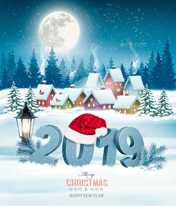 Holiday Christmas Background with 2019 - Christmas Seasons/Holidays