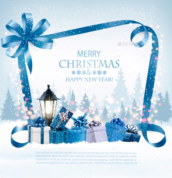 Merry Christmas Background with Gift Boxes and Ribbon - Christmas Seasons/Holidays