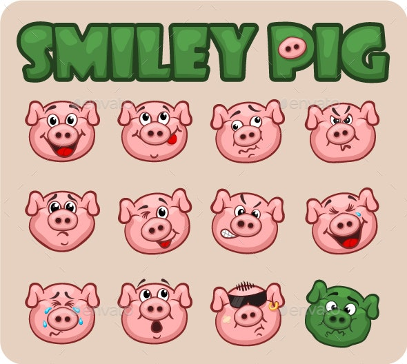 Pig Smiley - Animals Characters