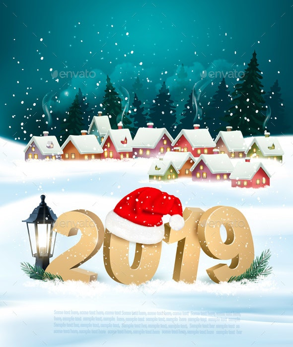 Holiday Christmas Background with 2019 and Winter Village - New Year Seasons/Holidays