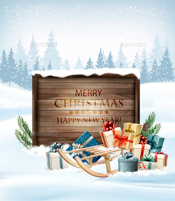 Merry Christmas Background with Gift Boxes and Wooden Sign - Christmas Seasons/Holidays