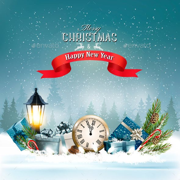 Christmas Background With a Lantern and a Colorful Gift Boxes