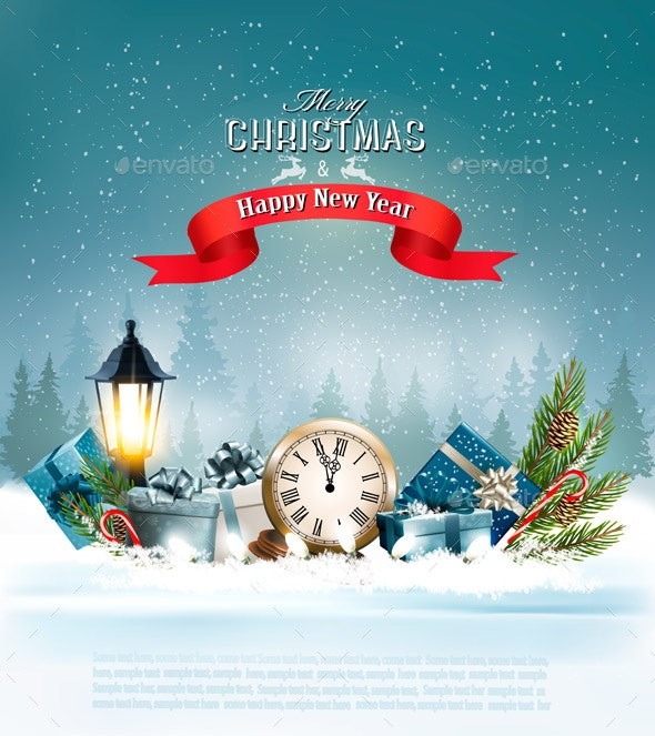 Christmas Background With a Lantern and a Colorful Gift Boxes - Christmas Seasons/Holidays