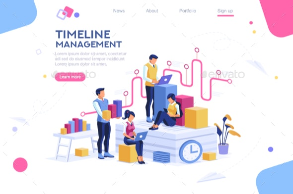 Presentation with Isometric People - Concepts Business