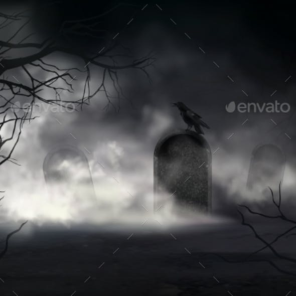 Raven on Gravestone at Old Cemetery Vector