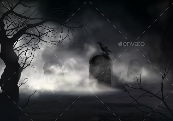 Raven on Gravestone at Old Cemetery Vector - Backgrounds Decorative