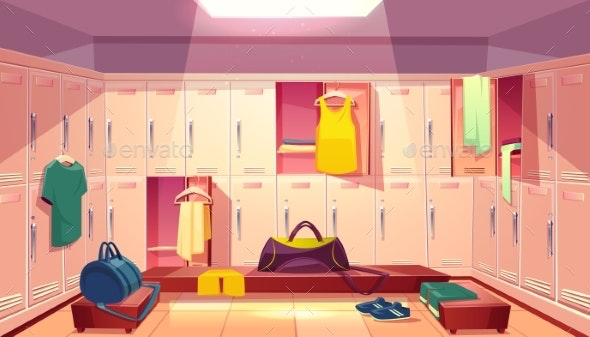 Vector Changing Room with Lockers for Sports - Backgrounds Decorative
