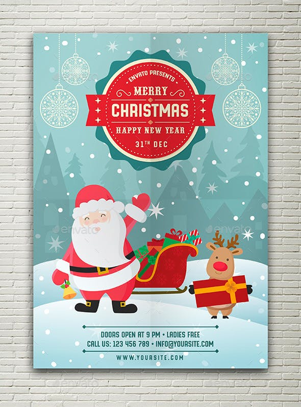 Merry Christmas Happy New Year Flyer By Peachline Graphicriver