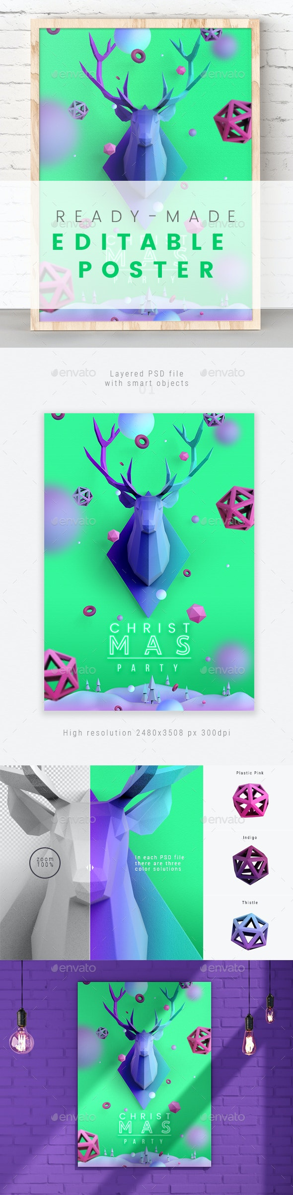 Christmas Poster in Aquamarine Color - Posters Print