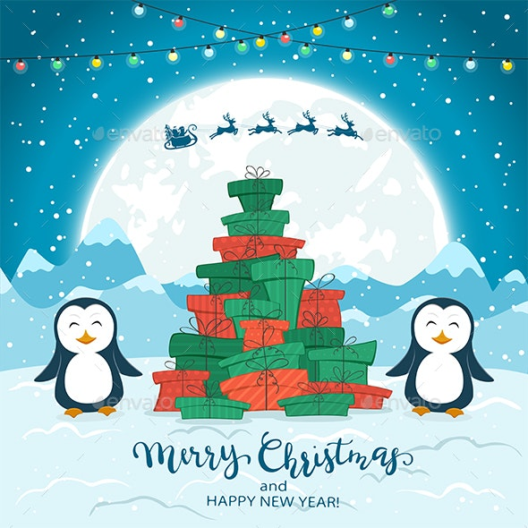 Penguins and Christmas Tree from Gifts on Blue Background - Christmas Seasons/Holidays