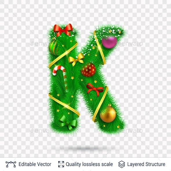 Holiday Decorative Letter of Fir Tree with Toys.