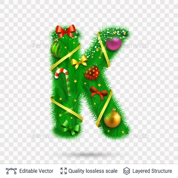 Holiday Decorative Letter of Fir Tree with Toys. - Decorative Symbols Decorative