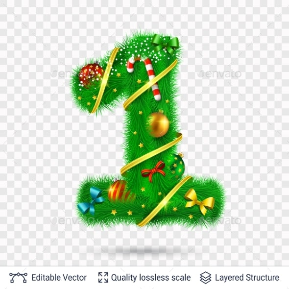 Holiday Decorative Number of Fir Tree with Toys. - Decorative Symbols Decorative