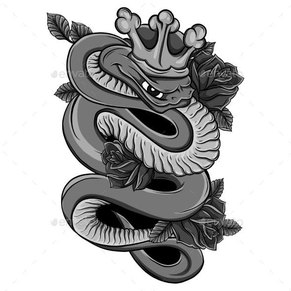 Viper Snake  Illustration. Ink Technique, Good Fo - Animals Illustrations