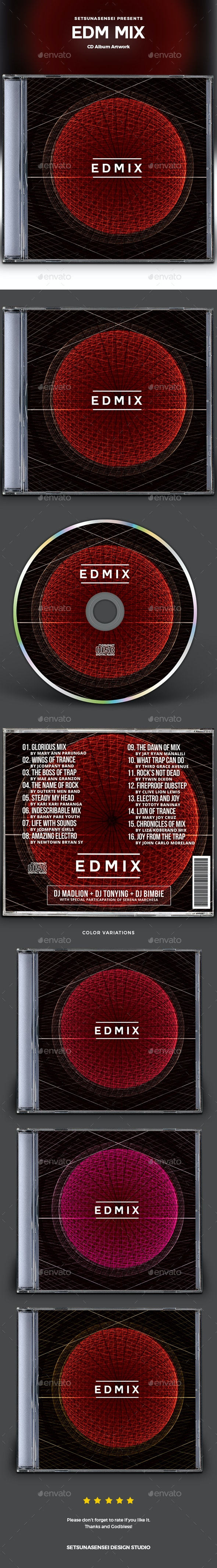 EDM Mix CD Album Artwork - CD & DVD Artwork Print Templates