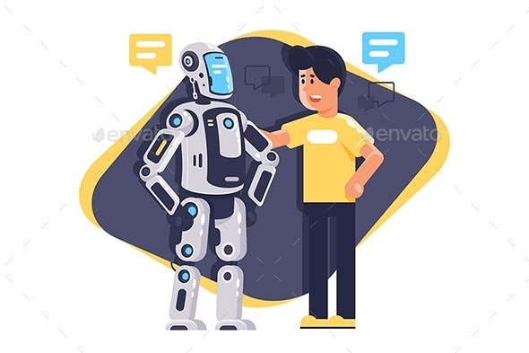 Flat Young Man Talking To Robot with Speech Bubble - Computers Technology