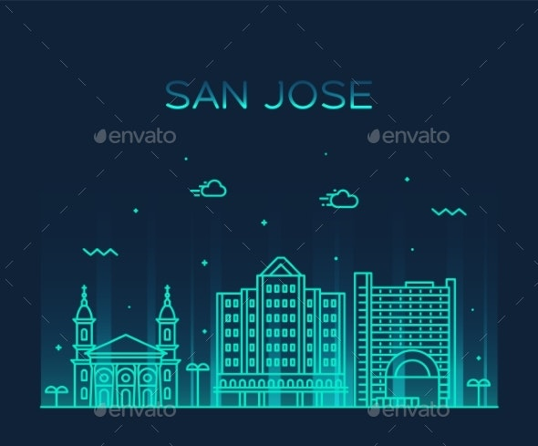 San Jose Skyline Northern California USA Vector - Buildings Objects