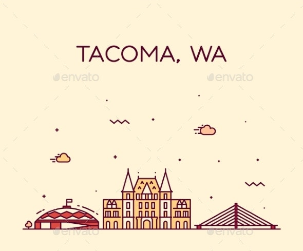 Tacoma Skyline Washington USA Vector Linear Style - Buildings Objects