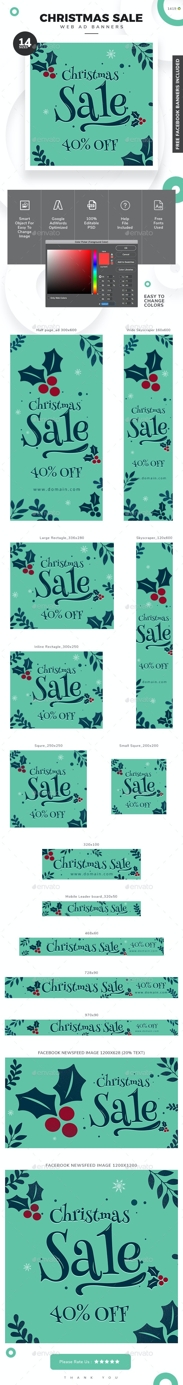 Christmas Sale Web Banner Set - Banners & Ads Web Elements