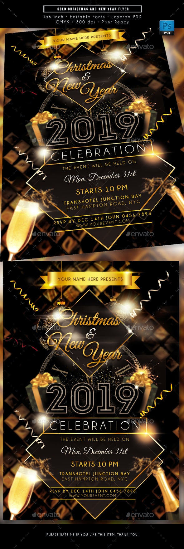 Gold Christmas New Year Celebration Flyer - Holidays Events