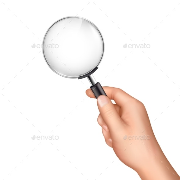 Magnifying Glass in Human Hand Realistic Vector - Man-made Objects Objects