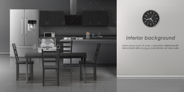Modern Kitchen Interior Realistic Vector Mockup - Buildings Objects