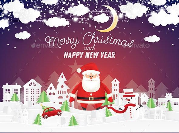 Santa Claus and Snowman in Christmas Village - Christmas Seasons/Holidays