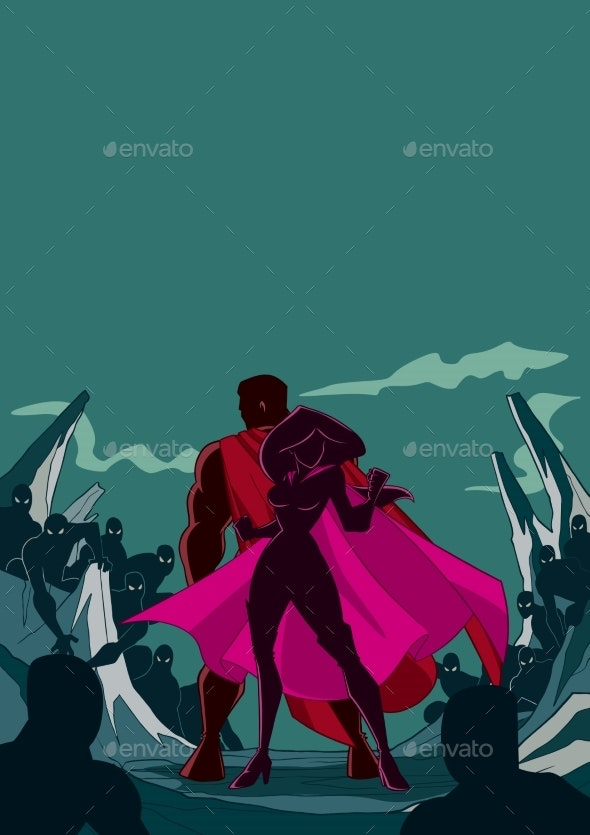 Superhero Couple Back to Back Silhouette - People Characters