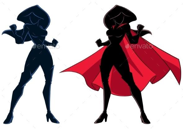 Superheroine Battle Mode Silhouette - People Characters