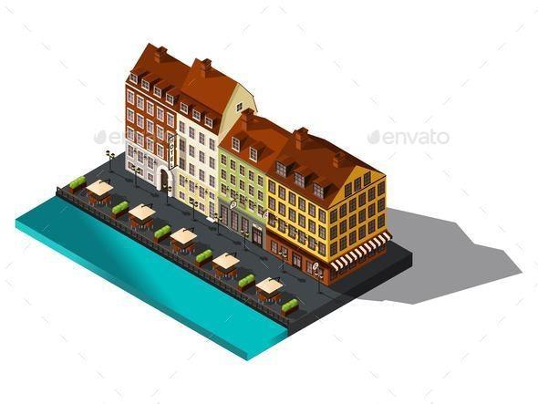 Isometric 3d House by Sea, Restaurant, Denmark, Copenhagen - Buildings Objects