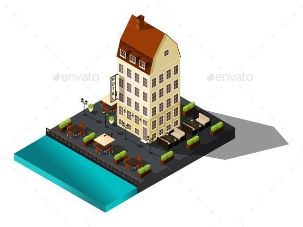 Isometric 3d House by Sea, Restaurant, Denmark, Copenhagen - Buildings Objects