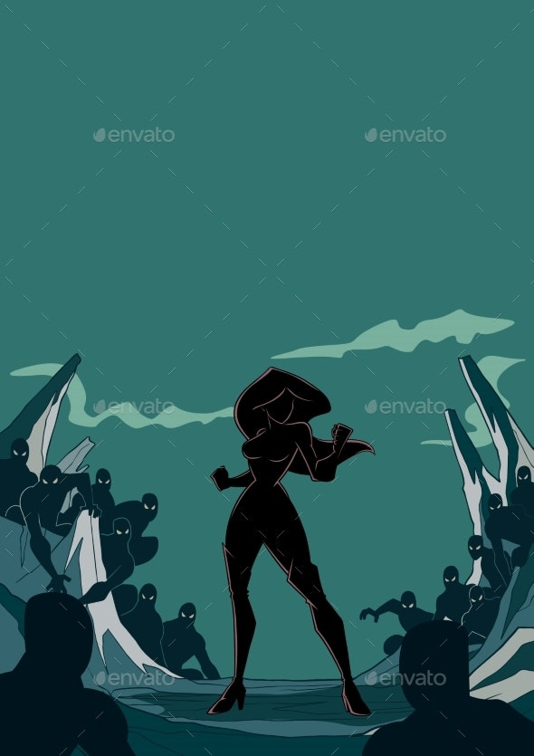 Superheroine Ready for Battle Silhouette - People Characters