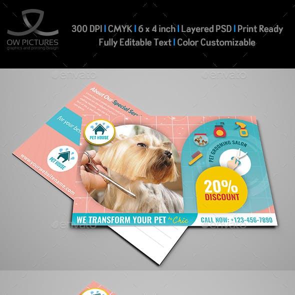 Pet Grooming Salon Postcard Template