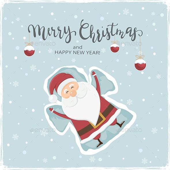 Happy Santa Claus Making Snow Angel - Christmas Seasons/Holidays
