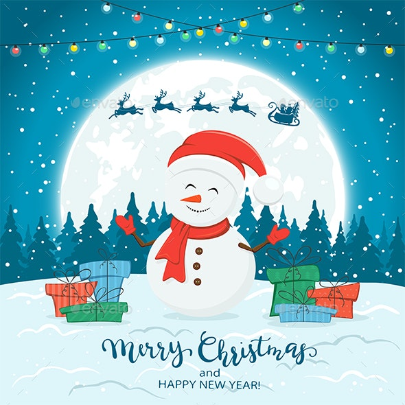 Snowman on Blue Winter Background with Gifts and Christmas Lights - Christmas Seasons/Holidays