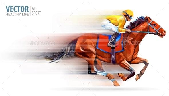 Jockey on Racing Horse - Sports/Activity Conceptual