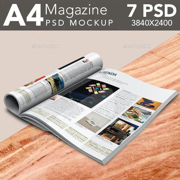 Open and Folded Magazine PSD Mockup Set