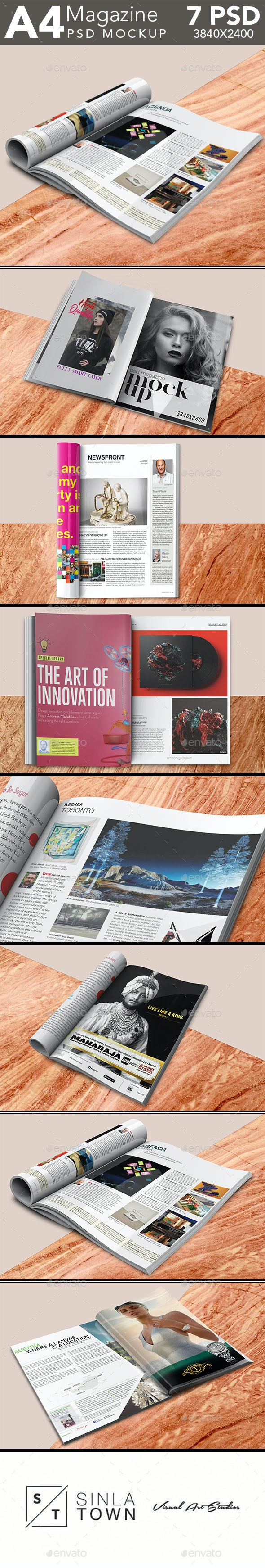 Open and Folded Magazine PSD Mockup Set - Magazines Print