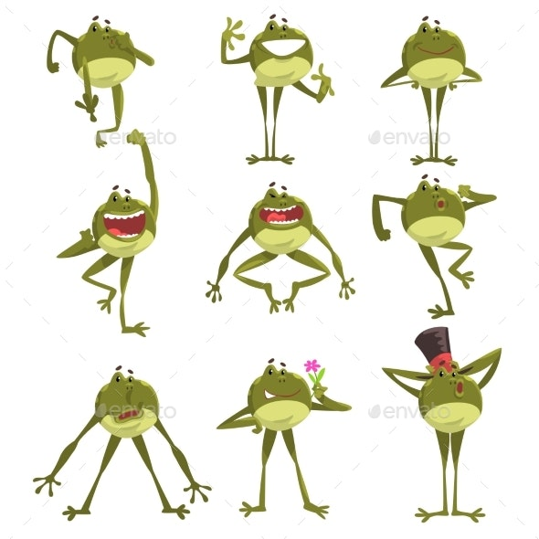 Emotional Green Frog - Animals Characters