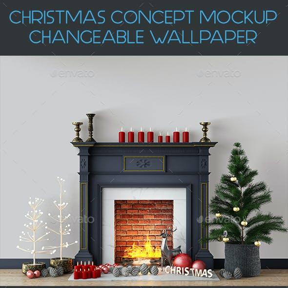 Christmas Concept Wall Mockup