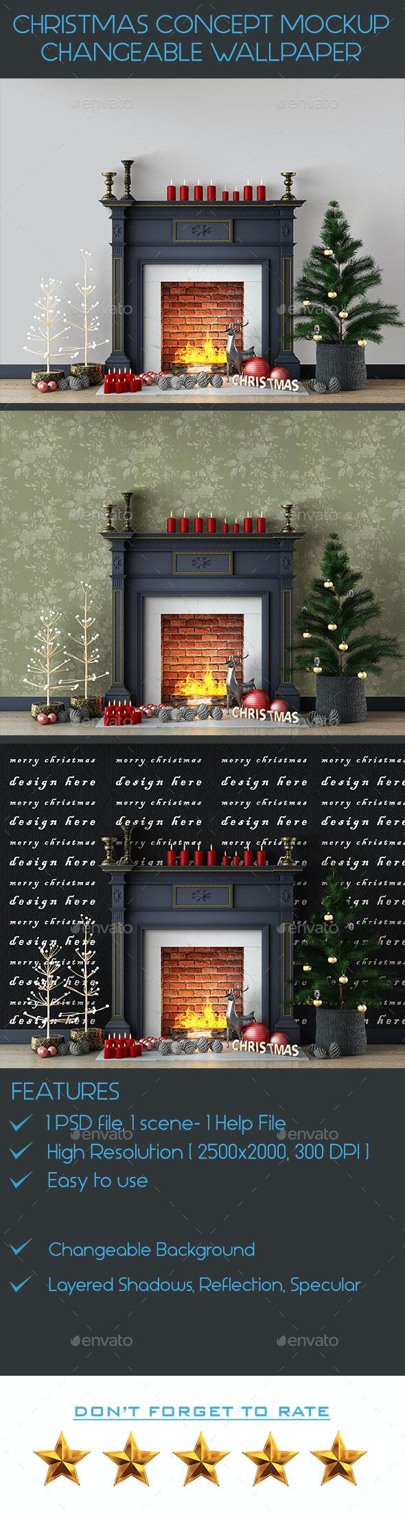 Christmas Concept Wall Mockup - Product Mock-Ups Graphics