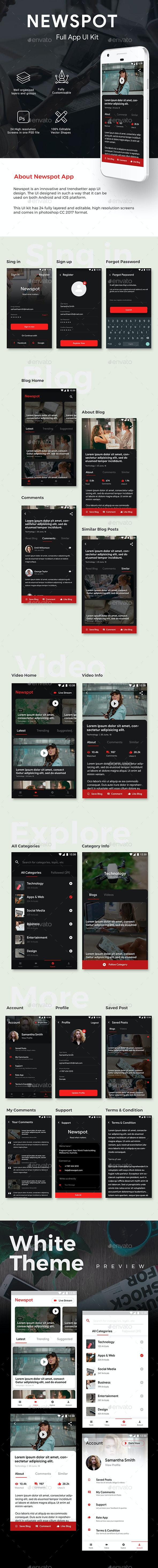News, Magazines, Blogs Android + iOS App UI | Newspot - User Interfaces Web Elements