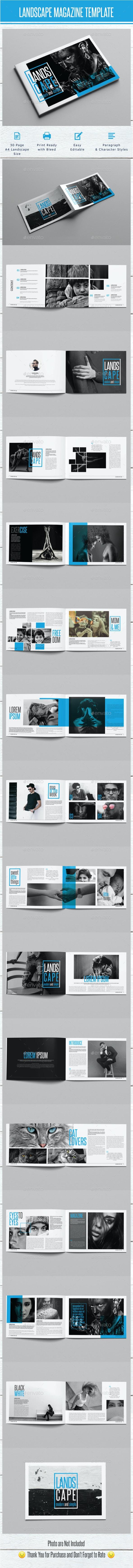 Landscape Monochrome Magazine Template - Magazines Print Templates