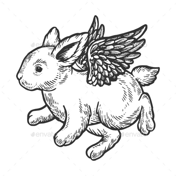 Angel Flying Baby Bunny Engraving Vector - Animals Characters