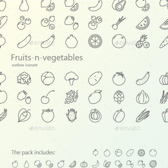 Fruits-n-Vegetables Outline Black Icons