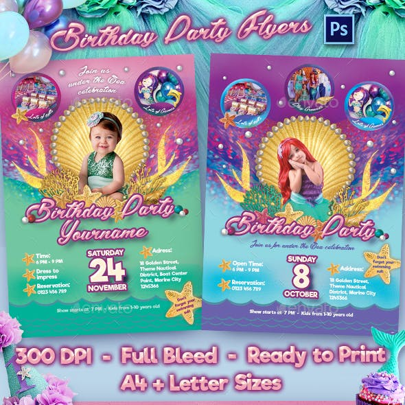 Mermaid Birthday Party Flyer Template